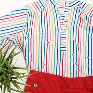 Rainbow Vintage Levi Half Button Up Retro Boxy Top